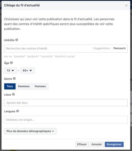 Fenêtre de ciblage d'audience sur Facebook