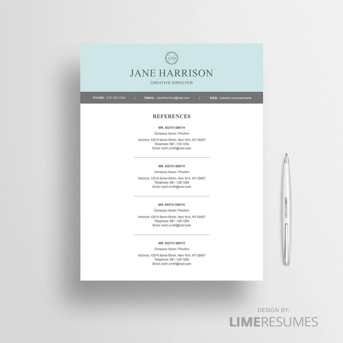 Modern Resume Template for Microsoft Word   LimeResumes Modern reference page