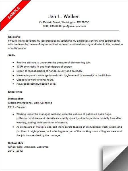 Dishwasher Resume Example - Resume Sample