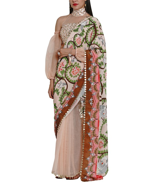 Printed Embroidered Cut-work Organza Sari