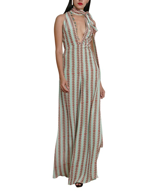 Printed Embroidered Knot-Collar Jumpsuit