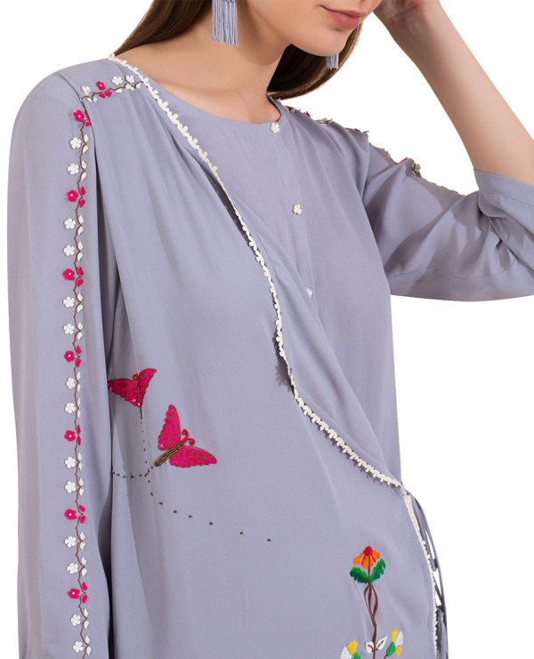Embroidered Overlap Tunic