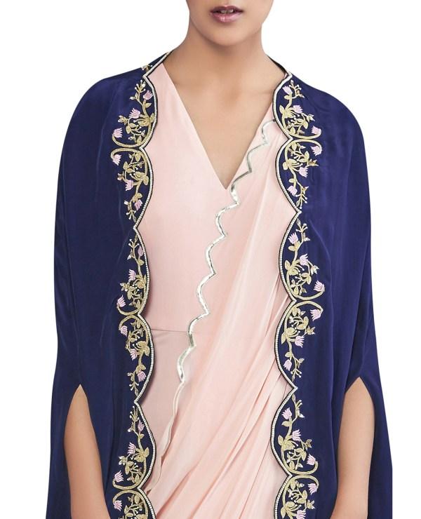 Embroidered Pre- Draped Sari with Cape