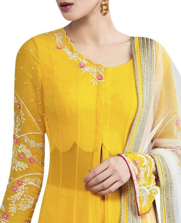 Embroidered Kalidar Kurta with Sharara & Dupatta