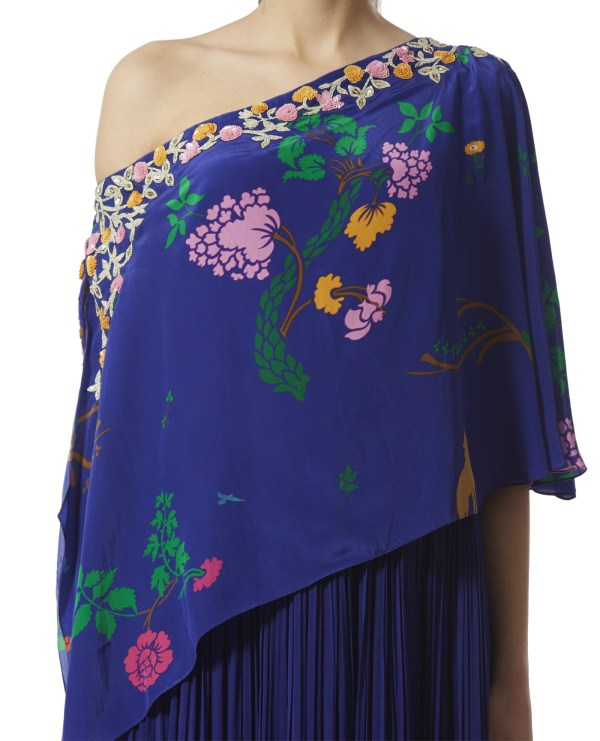 Embroidered Cape Style One-Shoulder Maxi