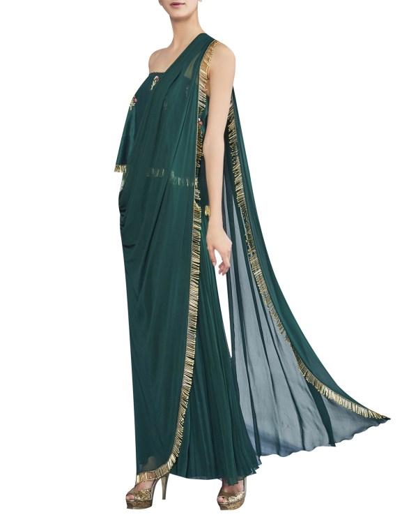 Embroidered Jumpsuit Sari