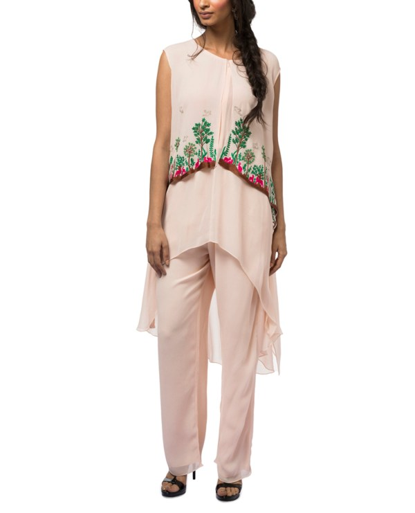 Embroidered Layered Tunic with Pants