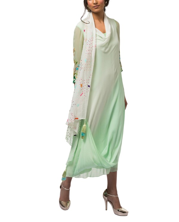 Embroidered Draped Tunic with Churidar