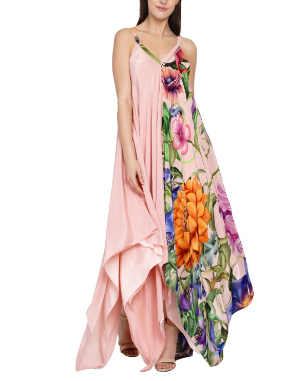 Embroidered Printed Hankerchief dress