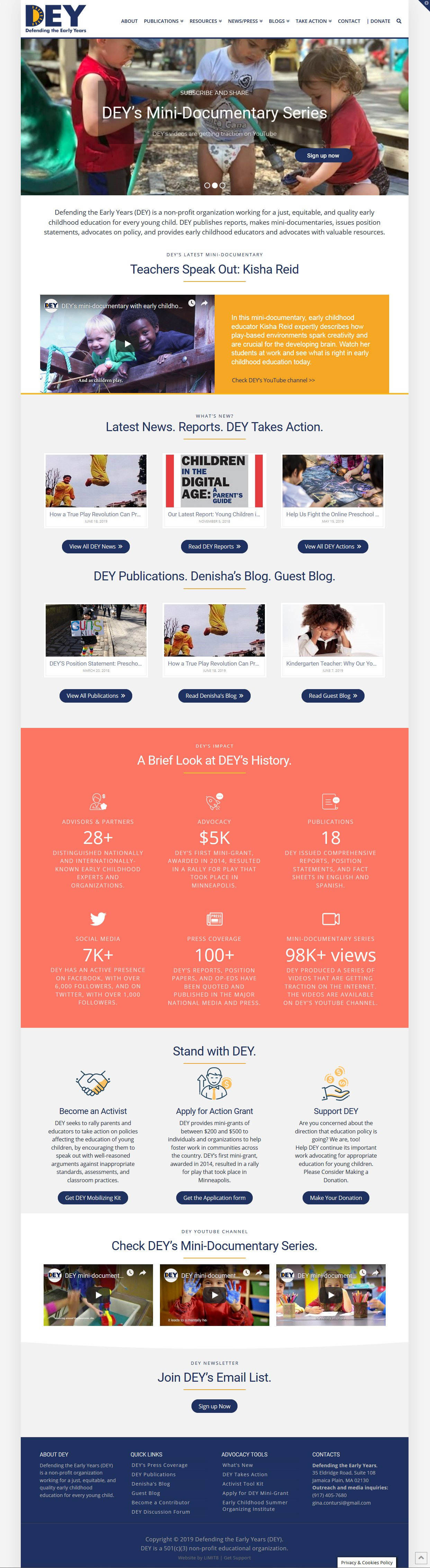 Defending the Early Years website the redesign by LIMIT8 Design