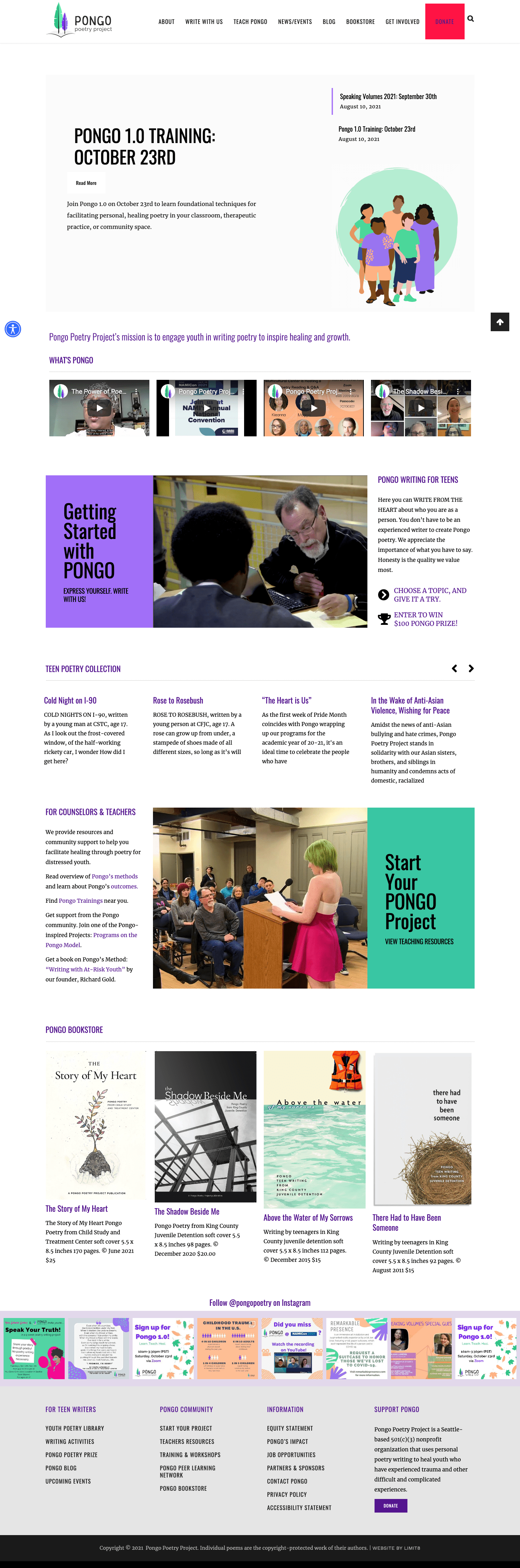 Pongo Poetry Project, website by LIMIT8