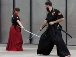 Kyoshi and Sensei perform a katana form