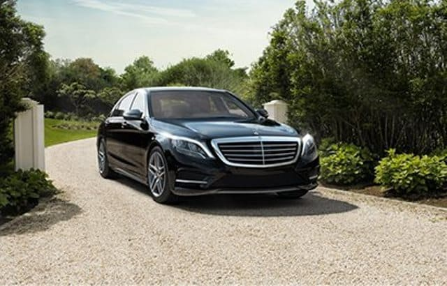 black Mercedes S class chauffeured wedding car hire in Melbourne waiting for customers