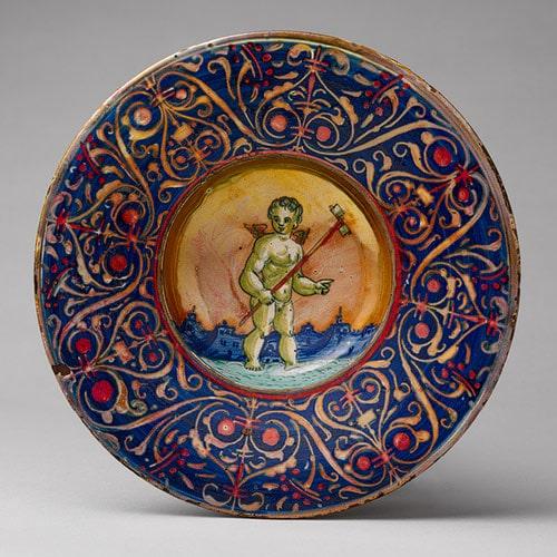 Bowl with a putto holding a pinwheel, ca. 1530, Gubbio, Italy