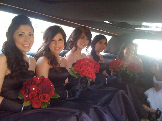 Gorgeous Bridal Party in their Los Angeles Wedding Limousine for San Dimas Wedding