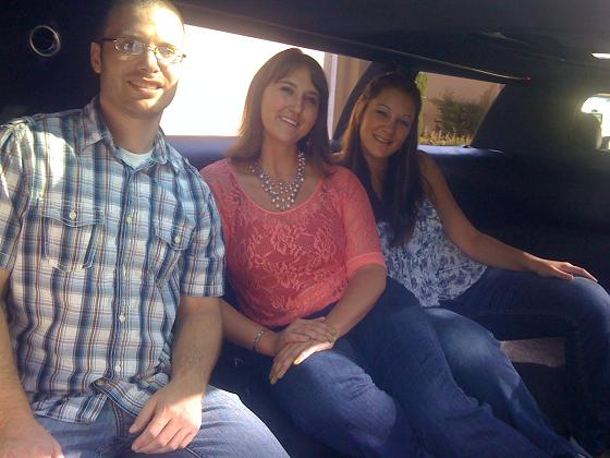 Friends in birthday limousine in Orange County, CA
