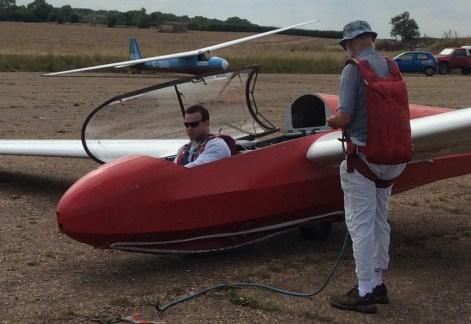 Simon Piegalski prepares to fly solo.