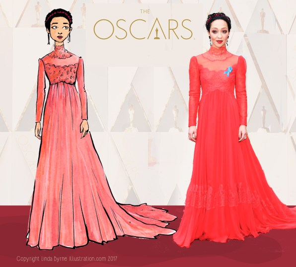 Fashion sketching, Emma Stone, La La Land, Oscars 2017 Red Carpet Fashion, Linda Byrne, Fashion Illustration, Ruth Negga,
