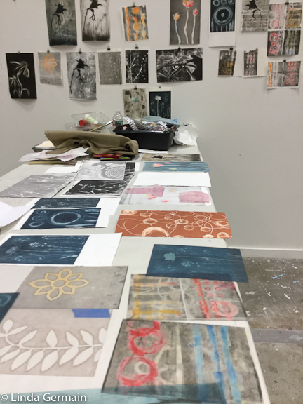 monotype prints with akua inks