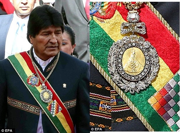 Bolivian president's priceless gold-and-emerald medal is stolen from a guard's car while the officer was at a Brothel (Photos)