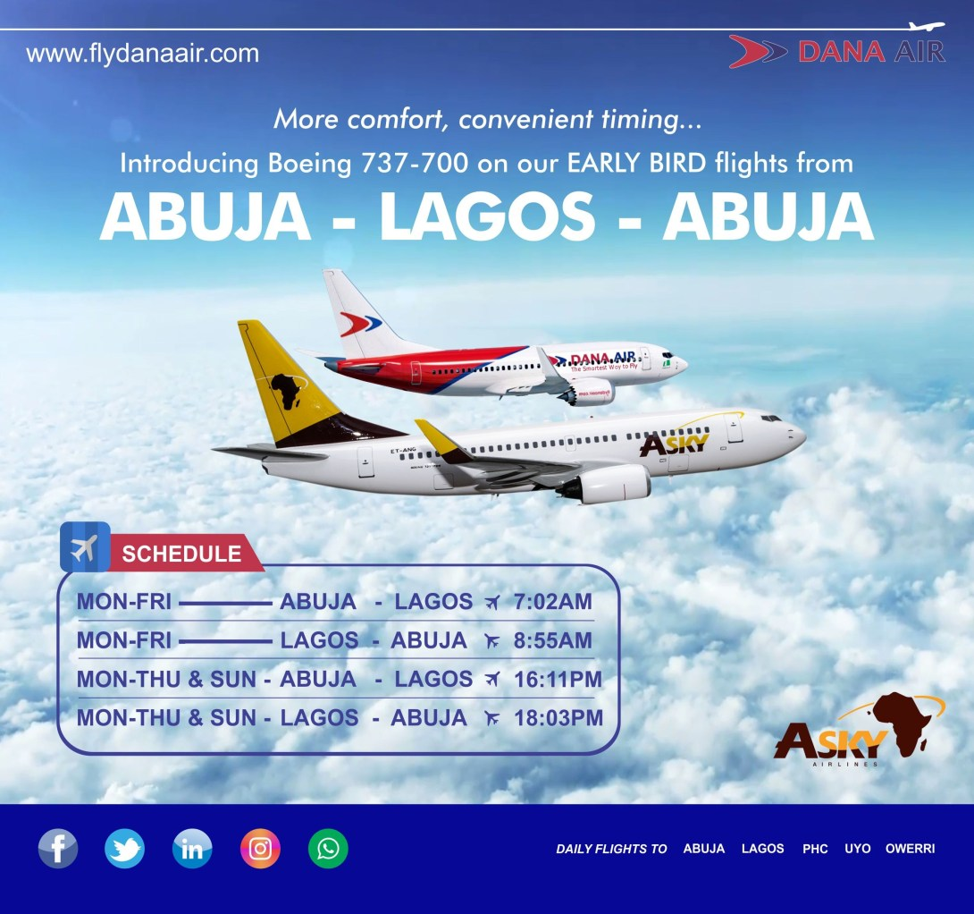 Dana Air adds Boeing 737- 700 aircraft to Fleet .To commence early bird service from Abuja on 10th September