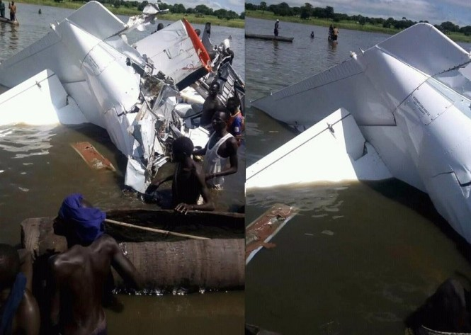 Image result for plane crashes into lake in South Sudan (Photos)