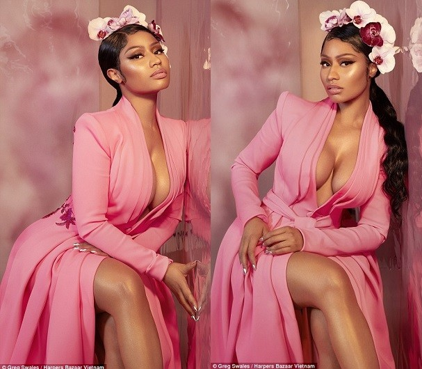 Nicki Minaj stuns in cleavage-baring gowns for the Music Icon issue of Harper's Bazaar Vietnam (Photos)