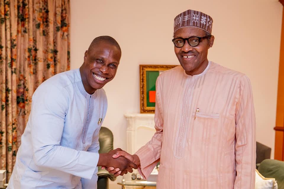 Obasanjo's son, Olajuwon all smiles as he visits President Buhari at the state house (Photos)