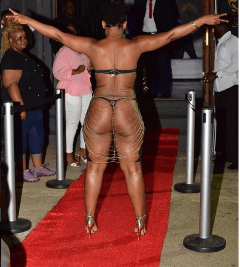 See how South African 'pantless' dancer, Zodwa Wabantu stormed the red carpet for an event (Photos)
