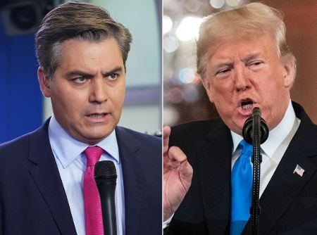 White House revokes the press pass of CNN's chief correspondent, Jim Acosta following his verbal duel with President Trump