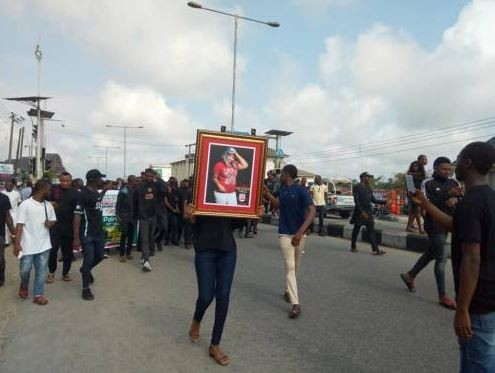 Photos: Students of Niger Delta Universityprotest the killing of a 16-year-old colleague by cultists