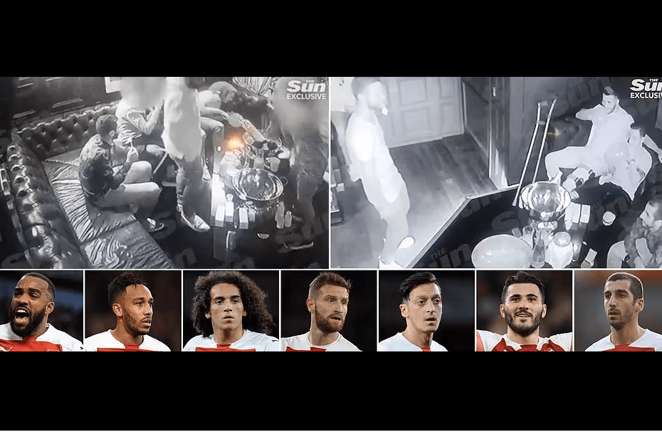 Arsenal stars including Ozil, Aubameyang, Lacazette and Guendouzi in trouble after filmed inhaling nitrous oxide at a London party (Photos)