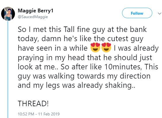 Twitter Stories: Lady reveals how she wasdisappointed by a cute guy she met at a bank who had mouth odour