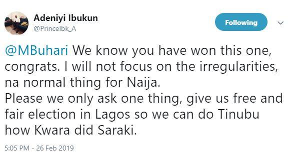 Dear President Buhari, pleasegive us free and fair election in Lagos so we can do Tinubu how Kwara did Saraki - IT expert, Ibukun Adeniyi