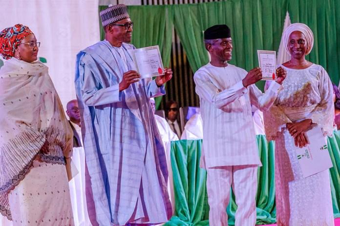 Here's theCertificate of return present toPresident Buhariand VPYemi Osinbajoby INEC (Photos)