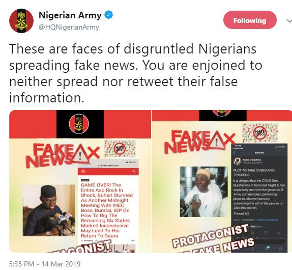 Army shares photo of Buba Galadima and Timi Frank as faces of 'disgruntled Nigerians spreading fake news'
