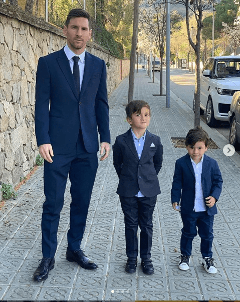 Lionel Messi and his sons look dashing as they suit up for dinner (Photos)