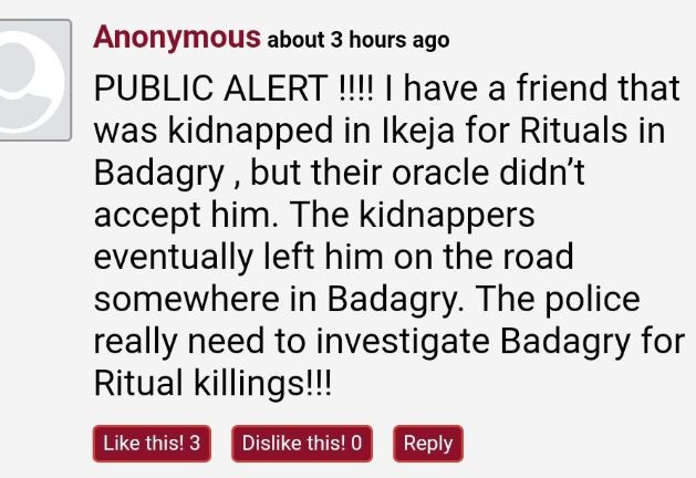 , LIB Readers cry out over the rising spate of kidnappings and insecurity in Lagos after a missing young lady was found 'dead in a canal', All9ja