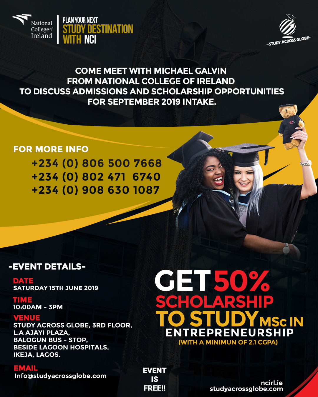 Meet with Michael Galvin from National College Of Ireland to discuss admissions, scholarships and post study visa opportunities for September 2019 intake