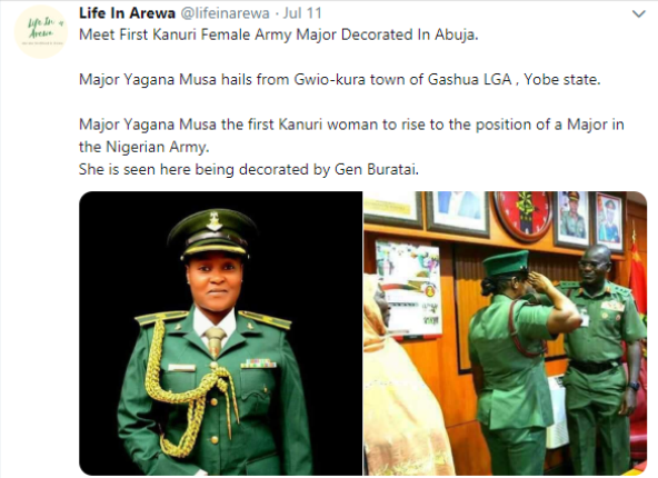Yagana Musa becomes first Kanuri woman to become a Major in