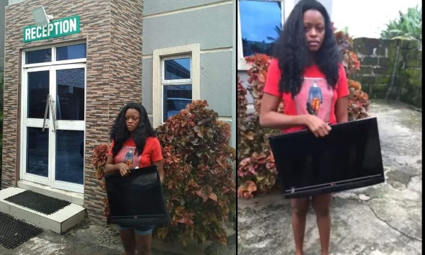 Lady nabbed after stealing a hotels plasma TV in Delta