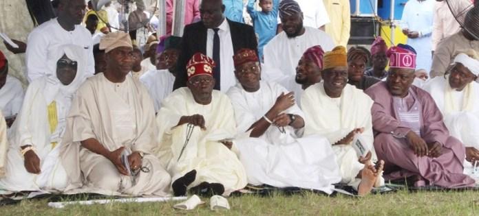 Caption this photo of Oba of Lagos, Bola Tinubu, Fashola, others