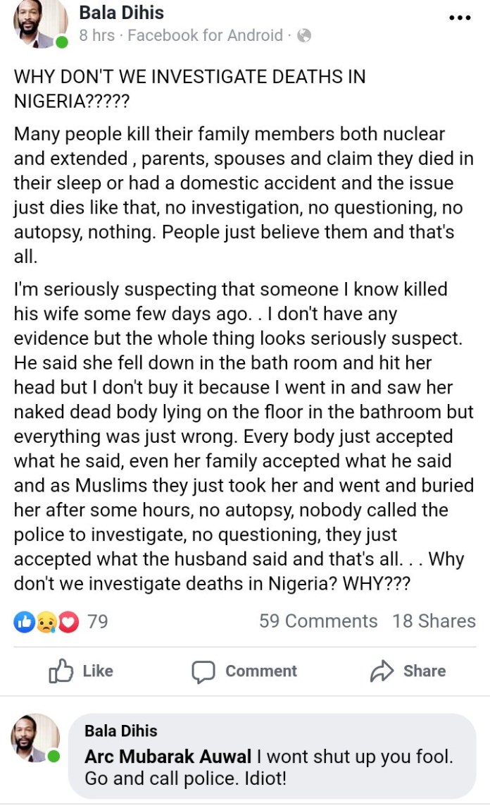 Writer questions why deaths aren't investigated in Nigeria as he shares story of a man he suspects killed his wife days ago