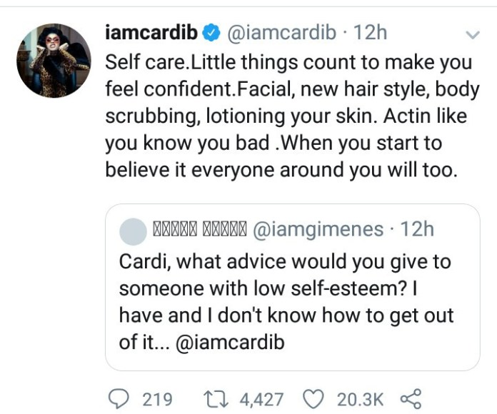 Cardi B advises followers on how to deal with low self-esteem
