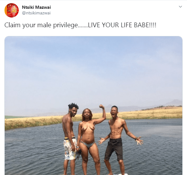 South African TV host, Ntsiki Mazwai goes naked while swimming with her male friends lindaikejisblog 1