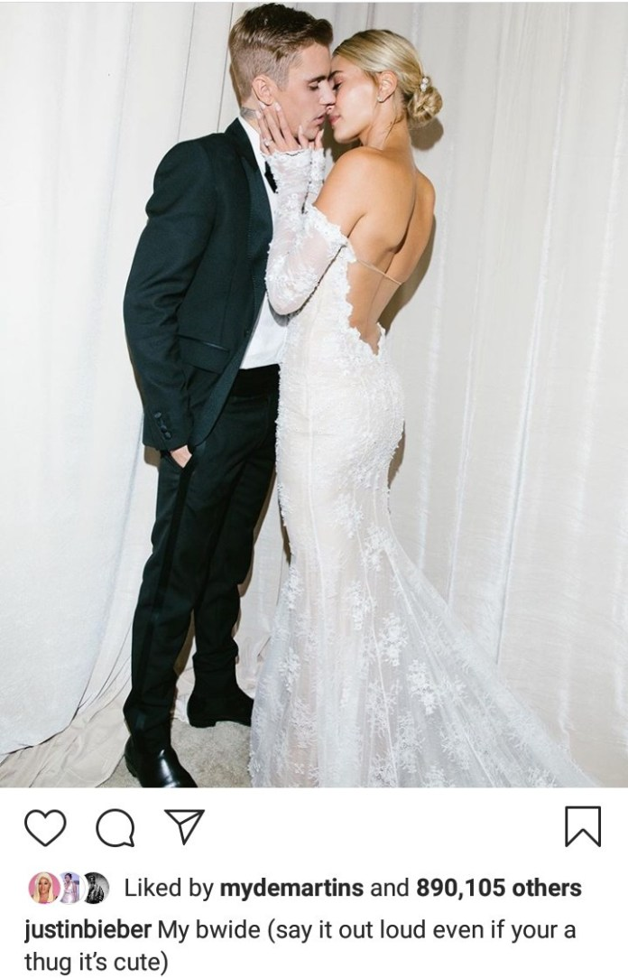 """""""Even thugz get married"""" Justin Bieber says as he shares new photos of him and Hailey Bieber in their second wedding look"""