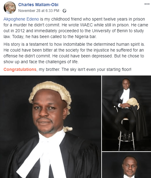 Man who allegedly spent 12 years in Nigerian prison for a crime he never committed, becomes a lawyer 7 years later lindaikejisblog 1