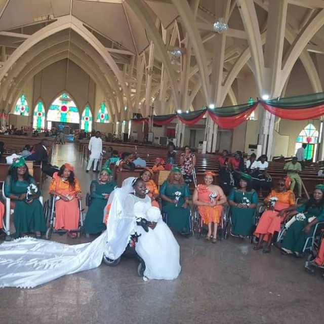 Nigerian lady in wheelchair weds her husband in Abuja with a bridal train of ladies on wheelchair lindaikejisblog 1