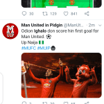 Twitter reacts as Odion Ighalo score his first goal for Man Utd.