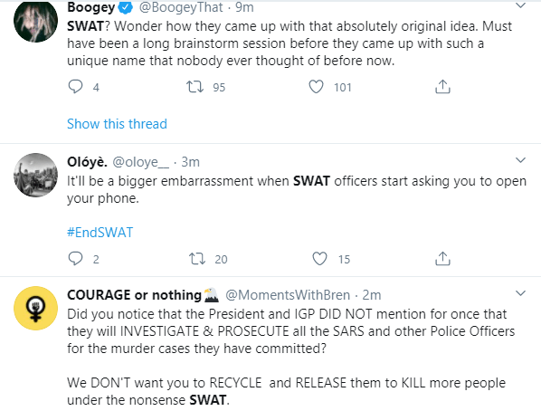 Nigerians reacts as IGP creates SWAT as replacement for SARS lindaikejisblog 7